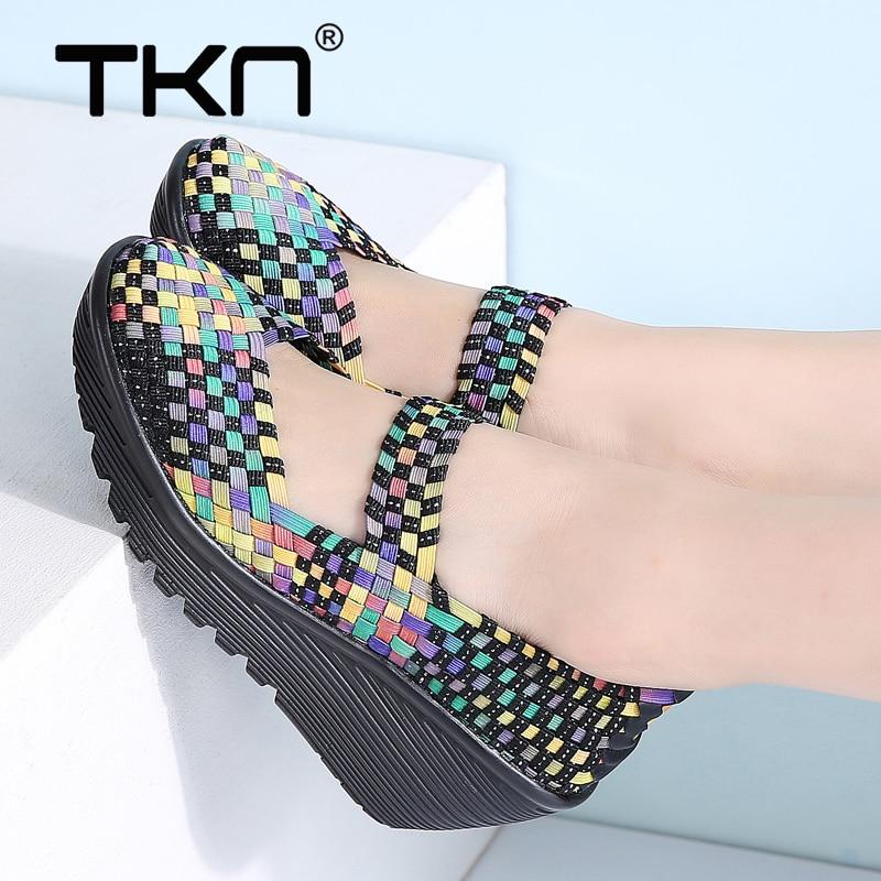 Hohe Absätze Professioneller Verkauf Frauen Sommer Schuhe Frauen Plattform Sandalen Schuhe Frauen Woven Schuhe Damen Flache Nahen Heels Keil Strand Sandalen