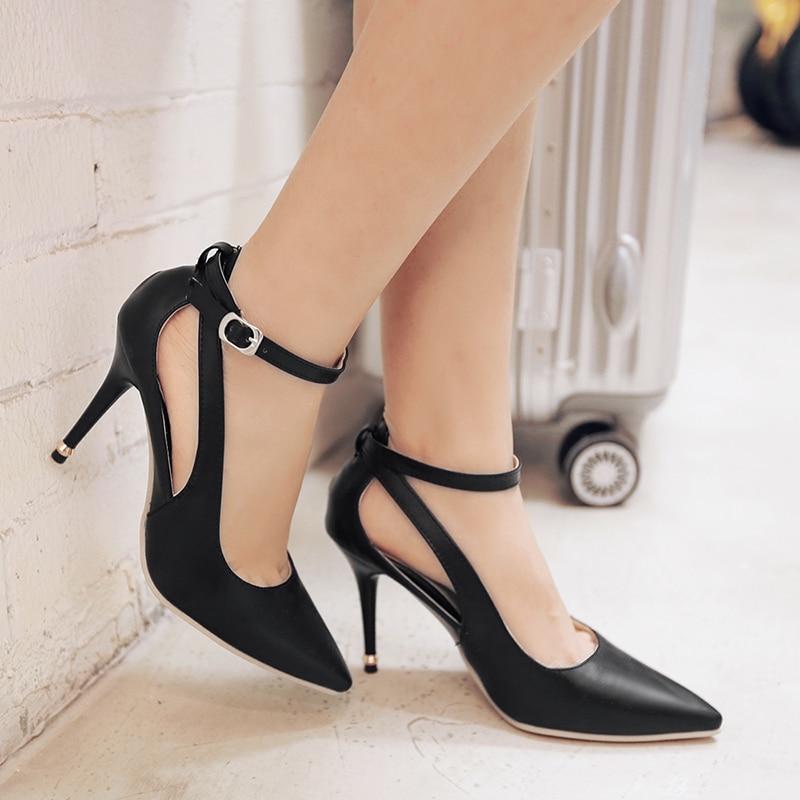 ФОТО New Arrival Elegant Women Sandals Thin Heels SandalsBlack Pink Blue White Soft Leather Popular Shoes Woman US Size 4-15