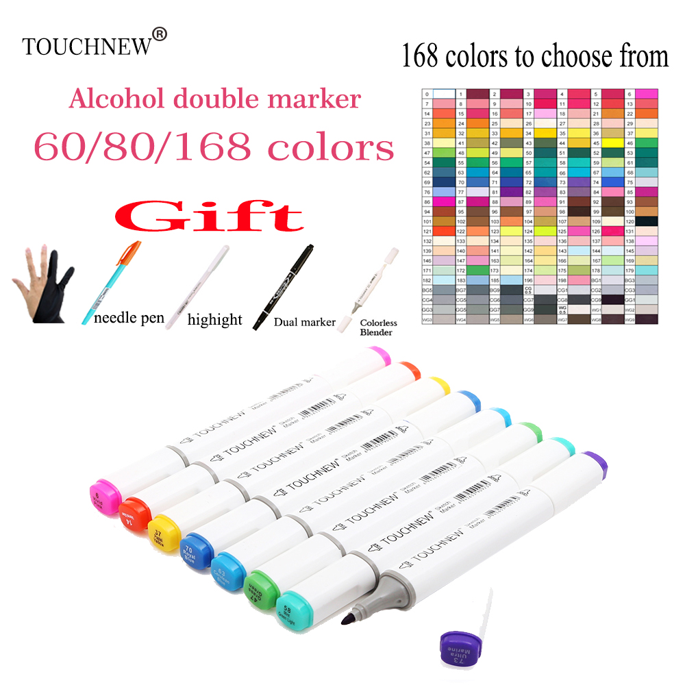 60/80/168 Colors Markers Pen Painting Manga Art Marker Set Stationery Pen For School Sketch Markers brush pen art supplies 24 30 40 60 80 colors sketch copic markers pen alcohol based pen marker set best for drawing manga design art supplies school