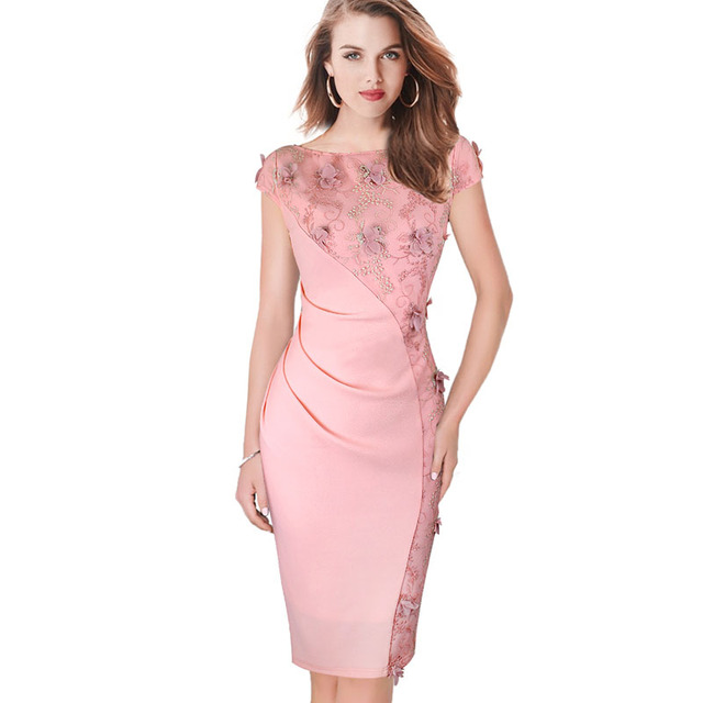 Vestido para mujer elegante Bordado ruched Slim túnica casual ...