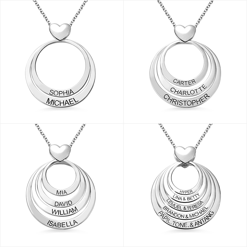 Wholesale Family Jewelry Sterling Silver Engraved Circles Necklace With Heart Personalized Name Necklace