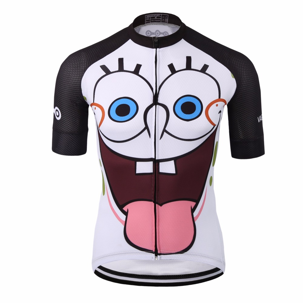 Unique white sublimation cycling clothing wear/full zipper funny cartoon men bike shirt/quick-dry 100% polyester racing ride top