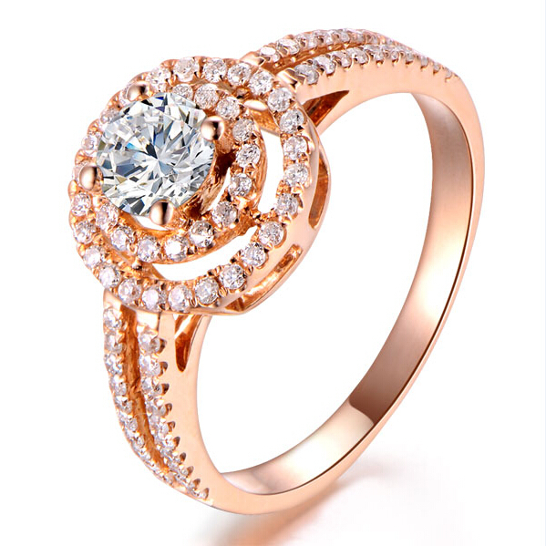 rose gold wedding ring on center 2 carat lab grown diamond double halo 9k solid gold - Rose Gold Wedding Rings For Women