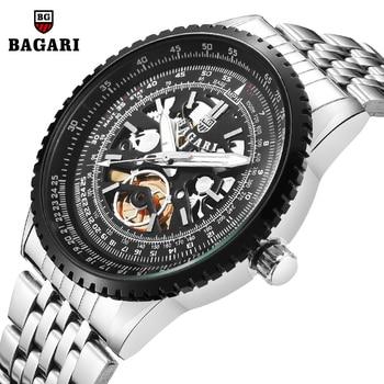 BAGARI, relojes para hombre de 2019, reloj de lujo para hombre, reloj de pulsera de acero inoxidable, reloj deportivo de cuarzo resistente al agua para hombres, movimiento japonés