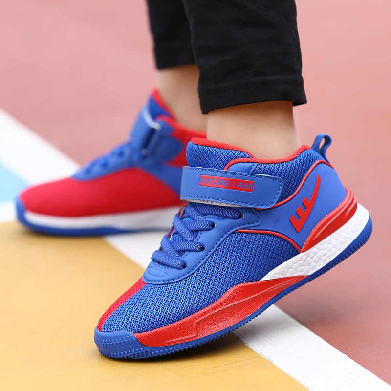 7f3a86780014 ... 2018 новые сетчатые Дышащие Детские баскетбольные кроссовки для мальчиков  девочек открытый кроссовки Детская спортивная обувь средний