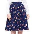 Alta cintura de algodón bird impreso floral vintage 50 s 60 s rocakbilly falda princesa mujeres vintage retro plisado de algodón faldas 2017