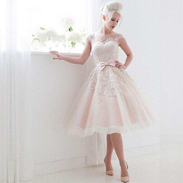 elegante encaje blanco de manga corta vestidos de novia peplum falda