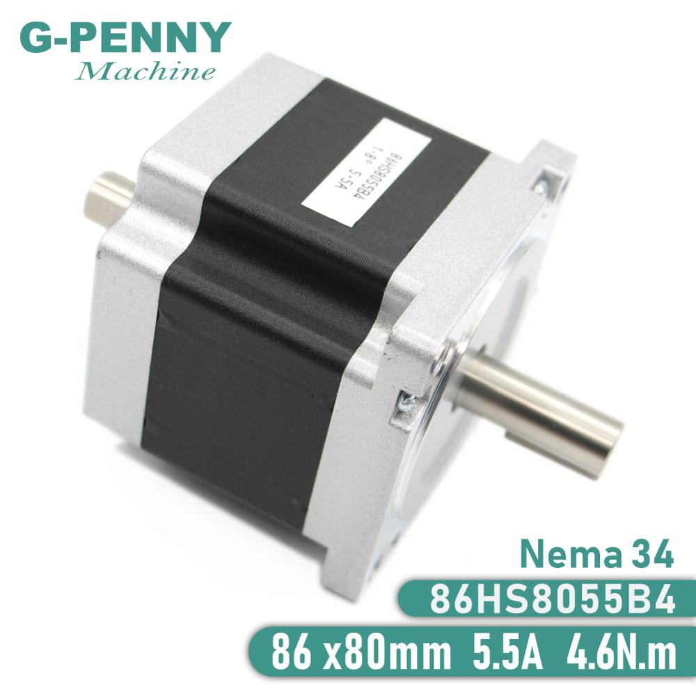 NEMA 34 Stepper Motor 86x80mm Nema34 CNC  Dual Shaft Stepping Motor 5.5A 4.6Nm D=14mm 1.8 Deg. for CNC Wood Working MachineNEMA 34 Stepper Motor 86x80mm Nema34 CNC  Dual Shaft Stepping Motor 5.5A 4.6Nm D=14mm 1.8 Deg. for CNC Wood Working Machine
