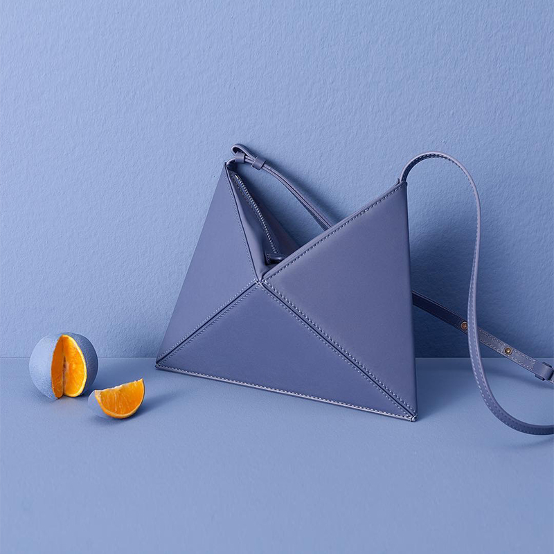 Simple small cold wind origami folding rhombic triangular sloping single shoulder bag female bagSimple small cold wind origami folding rhombic triangular sloping single shoulder bag female bag