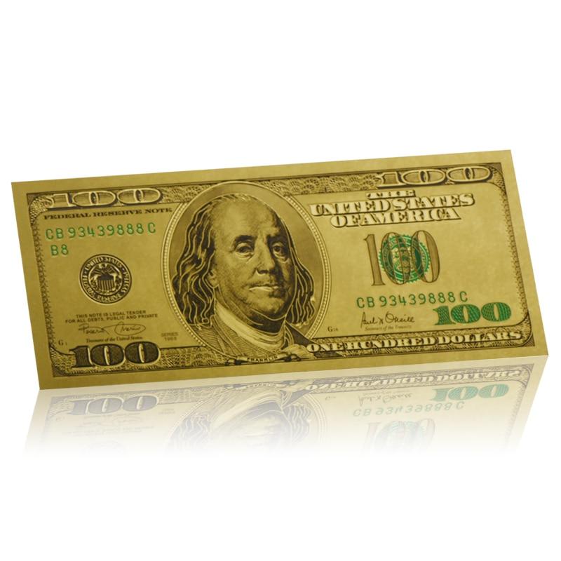 WR качественная покрытая 24-каратным золотом Фольга для банкнот, коллекционные деловые подарки 100 долларов США, Золотая банкнота в США