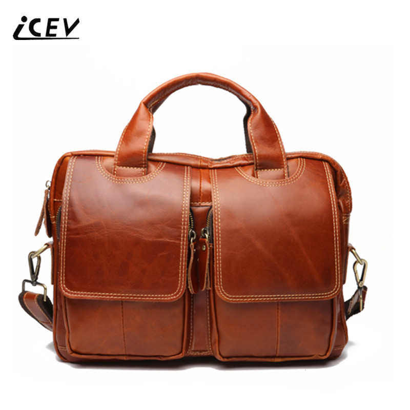 ICEV 2018 Men Leather Handbags Crossbody Bags for Men Messenger Bags High Quality Vintage Business Casual Genuine Leather Totes icev new brands simple cow leather crossbody bags for women messenger bags high quality ladies bag made of genuine leather bags