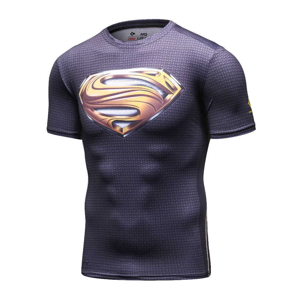 Men Legends of Aesthetics Compression Shirt Marvel Sublimate print Superhero Superman T Shirt Men Gym Fitness RunningTops & Tees