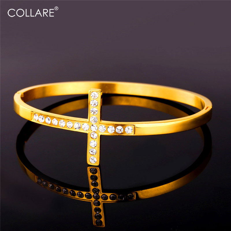 Collare Sideways Cross Bangle For Women Rhinestone Crystal Jewelry 316L Stainless Steel Gold/Silver Color Christian Bangles H210