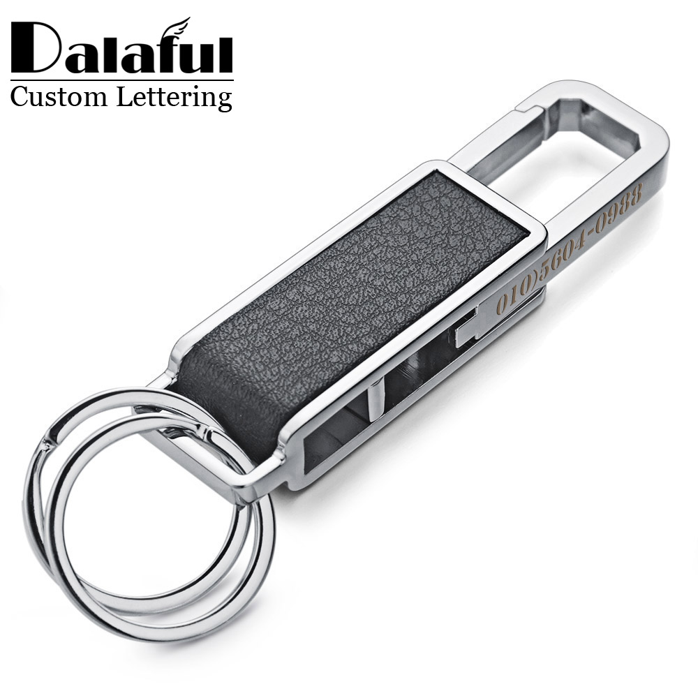 Dalaful Custom Lettering Keychains Keyrings Leather Metal Waist Buckle Rotatable Bottle Opener Tool Key Chains Ring Holder K354