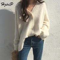 HziriP Knitted Sweater Women 2018 New Autumn Winter Fashion Single Breasted Long Sleeve Loose Cardigans Solid Female Outerwear