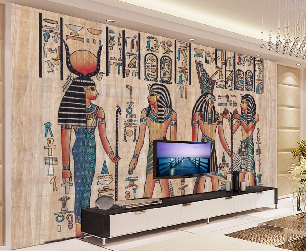 Home wallpaper egypt wallpaper home for Egyptian mural wallpaper