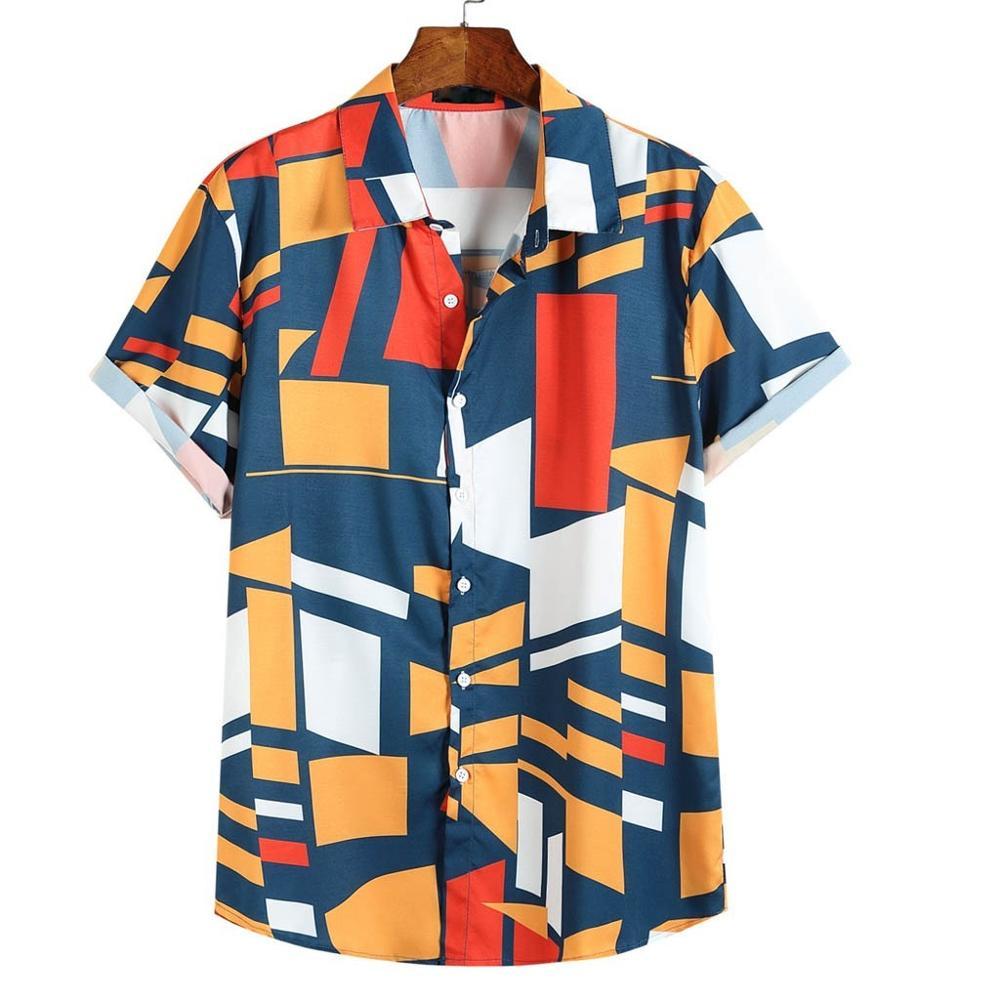 Mens Contrast Color Geometric Printed Turn Down Collar Short Sleeve Loose Shirts Printing Hawaiian Camisas Hombre High Quality