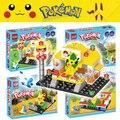 64 unids/2 muñecas pokemen ir batalla centro de gimnasio pikachu generaciones juegos de bloques de construcción juguetes compatibles con lego