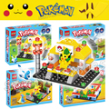 64pcs/2 dolls Pokemen Go Battle Center GYM Pikachu Generations Building Blocks Kits Sets Toys Compatible With Lego