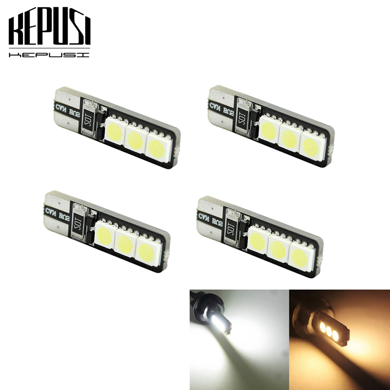 4pcs T10 LED 194 168 W5W Bright Double No Error Canbus 6 SMD 5050 LED Car Interior Bulbs Light Parking Width Lamps Warm White