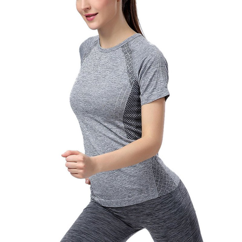 Women Nylon Quick Drying Short Sleeve font b Fitness b font Gym Running Yoga T Shirt