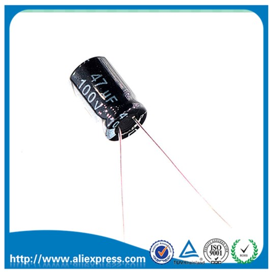 100PCS 100V 47UF 47UF 100V Electrolytic Capacitors Size <font><b>10</b></font>*13mm 100 <font><b>V</b></font> / <font><b>47</b></font> UF Aluminum Electrolytic Capacitors New image