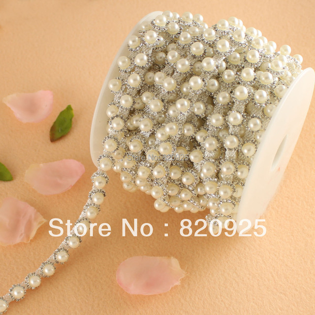 1 Yard Rhinestone Ivory Pearl Costume Sewing Trims Craft Trimming 67469af9c16a
