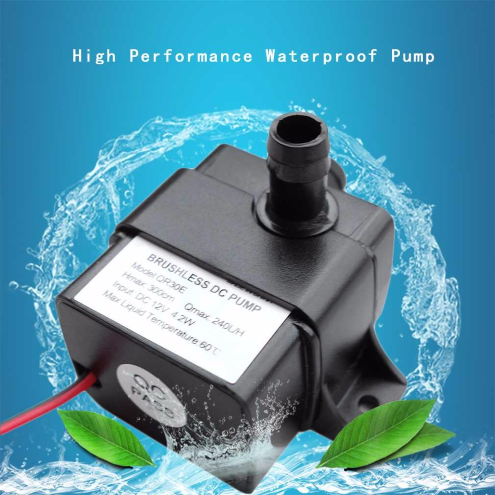 DC 12V 4.2W 240LH Waterproof Ultra-quiet Water Pump Brushless Water Pump Car Submersible Fountain Aquarium Circulating