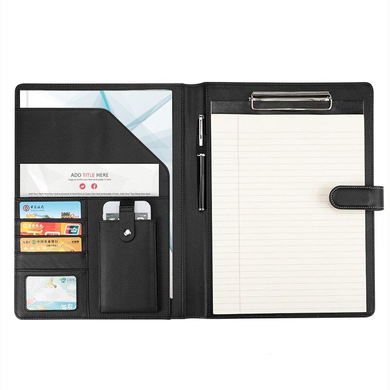 Faux cuir dossier dossier A4 dossiers pour documents menus business manager sac padfolio avec trombone téléphone portable poche 1314C