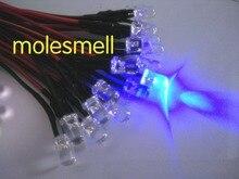1000pcs 5 มม.12V สีฟ้าน้ำล้าง LED 12V DC 20 ซม.แบบมีสาย LED DIY 12V prewired LED
