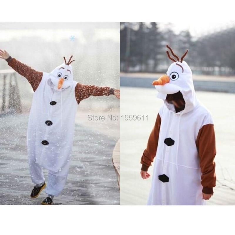 Free shipping Pajamas Olaf Snowman Cosplay White jumpsuit Adult Onesie Pyjamas snowman costume