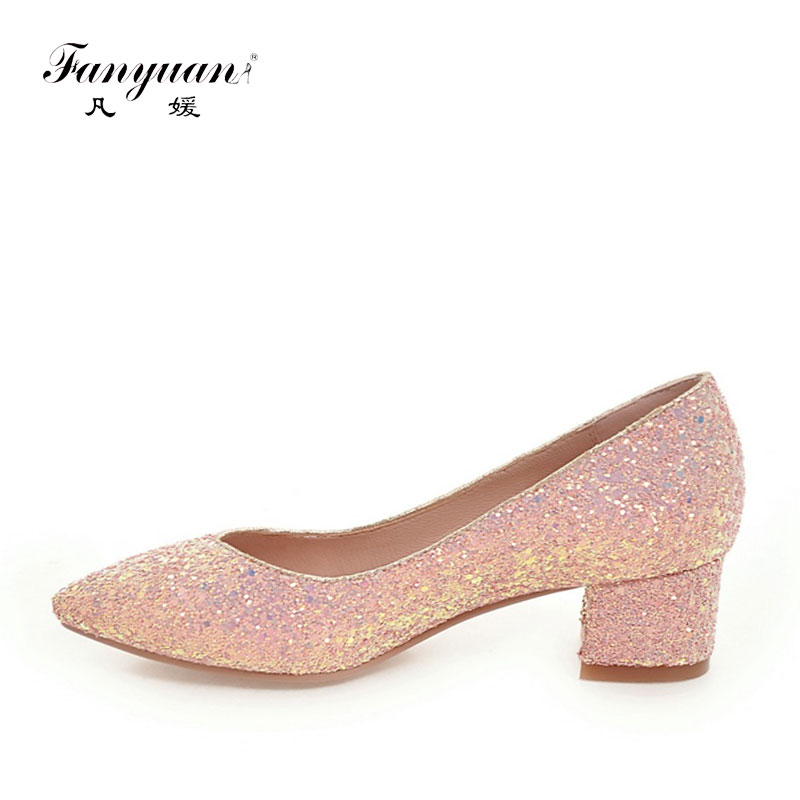 Fanyuan 2019 Large Size 34-43 Office Lady Bling Upper Square Heels Woman Shoes Comcise Pink White Black  Date Wedding PumpsFanyuan 2019 Large Size 34-43 Office Lady Bling Upper Square Heels Woman Shoes Comcise Pink White Black  Date Wedding Pumps