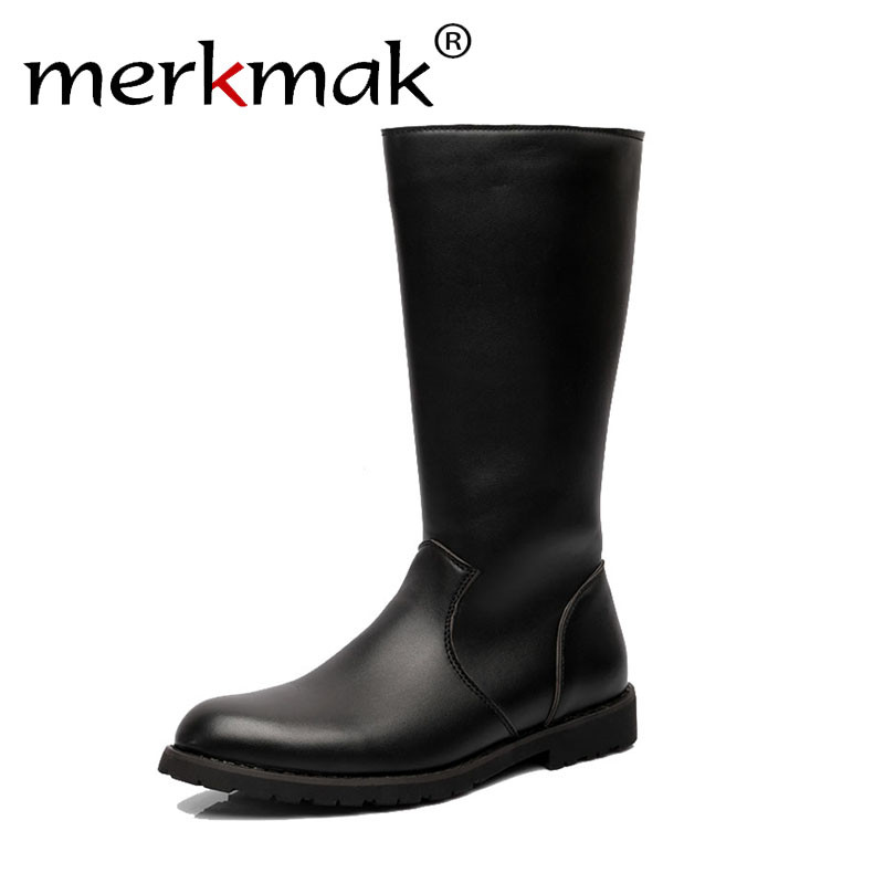 Merkmak Men Boots Genuine Leather Winter With Ankle Low Heel Boots Zip High Quality Leather Boots Autumn Winter Men Long Boots mulinsen latest lifestyle 2017 autumn winter men
