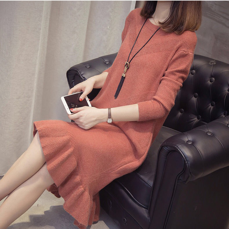 New Ruffle Loose Sweater Dress Autumn Winter 2019 Casual Long Sleeve Bodycon Dresses Ladies Plus Size Knitted Trumpet Dress 27