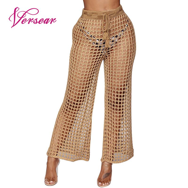 Versear Sexy Black Mesh Pants Trousers for Women Lace Up Hollow Out Tassel Wide Leg Pants Female High Waist Summer Beach Pants