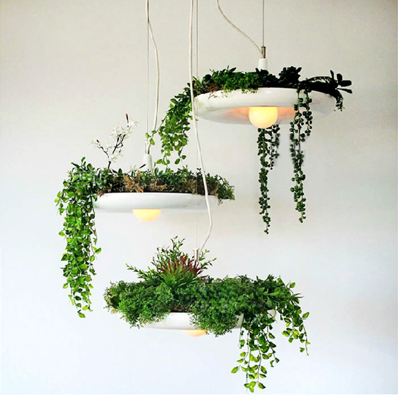 LED Hanging Gardens of Babylon Plants Lamp Pots Potted Nordic Tom Creative Chandelier Lighting  Bulb Art Pendant Lamp With Bulb modern hanging garden of plants lamp nordic creative chandelier lighting without plants and flowers nature home decoration