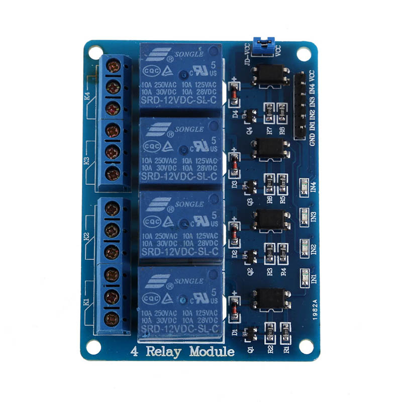 Professional PLC Relays 12V 4-Channel Relay Module With Optocoupler For Arduino DSP AVR PLC ARM Electronic Accessories ootdty 4 channel relay module with optocoupler pic avr 51 arm for arduino single chip dc 12v apr12 30
