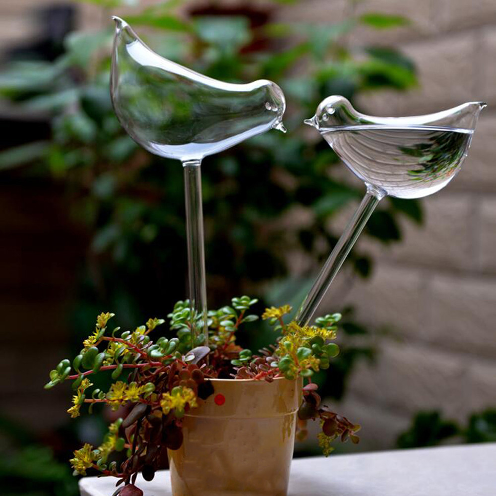 2019 Fashion Cans For Garden Plant Watering Device Indoor Automatic Cute Birds Snail Swan Glass Animal Design