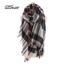 Winter Plaid Scarf Women Fashion Blanket Shawls tartan Female Luxury Brand Warm Wool Wrap pashmina Cashmere Bufandas New Z1667