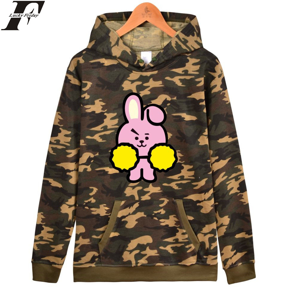 LUCKYFRIDAYF BTS Love Yourself Camouflage Hooded Women Winter Hoodies Sweatshirt Kpop Casual Fashion Camouflage Female Clothes