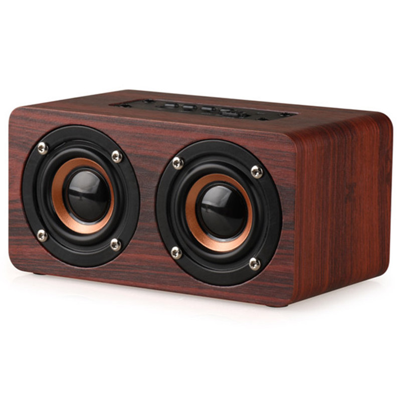 W5 Wooden Wireless Powerful Altavoz Bluetooth Double Speaker With TF Card Loudspeakers Surround Mini Portable Audio Boombox