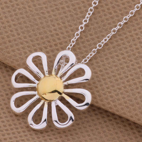 AN302  Fashion Design silver Daisy Pendant Necklace Pretty good for woman of fine jewelry with high quality hot