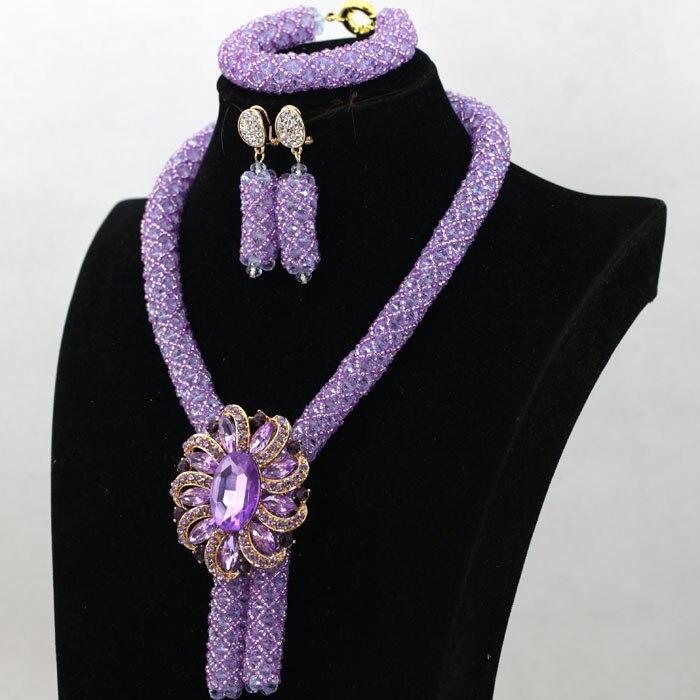 Elegant Lilac Wedding African Beads Jewelry Set Clear Purple ...