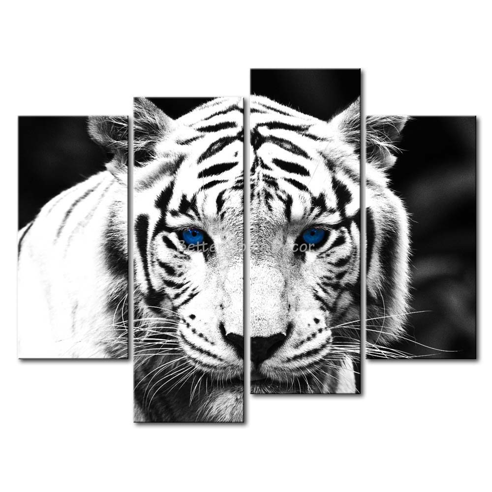 Zebra Print Kitchen Decor: 3 Piece Black & White Wall Art Painting Blue Eyed Tiger