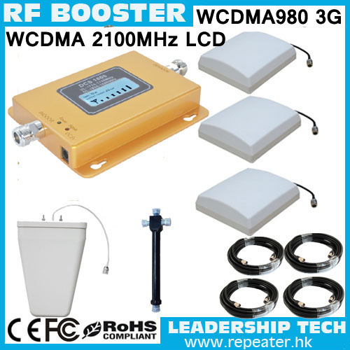 Free Shipping RF WCDMA980 W-CDMA 2100mhz 3G LCD Cell/mobile Phone Repeater Booster Detector Repetidor Indoor Panel Antennas