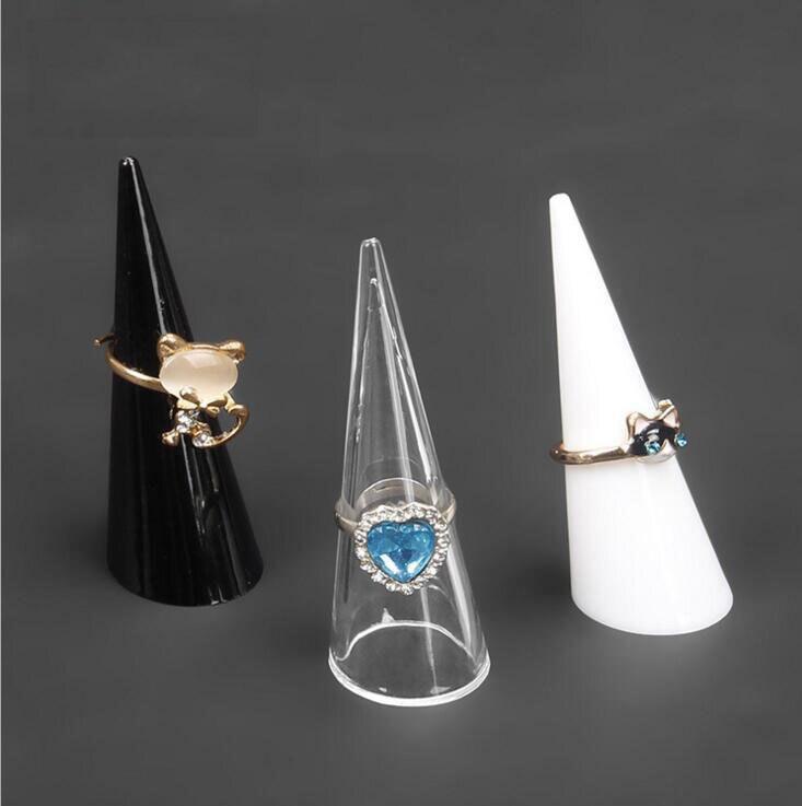 10 Stücke/lotfashion Neue Kegel Finger Ring Stehen Schmuck-display Halter Schwarz Weiß Klar Ring Halter Schmuck Ausstellung Stehen SchöN In Farbe