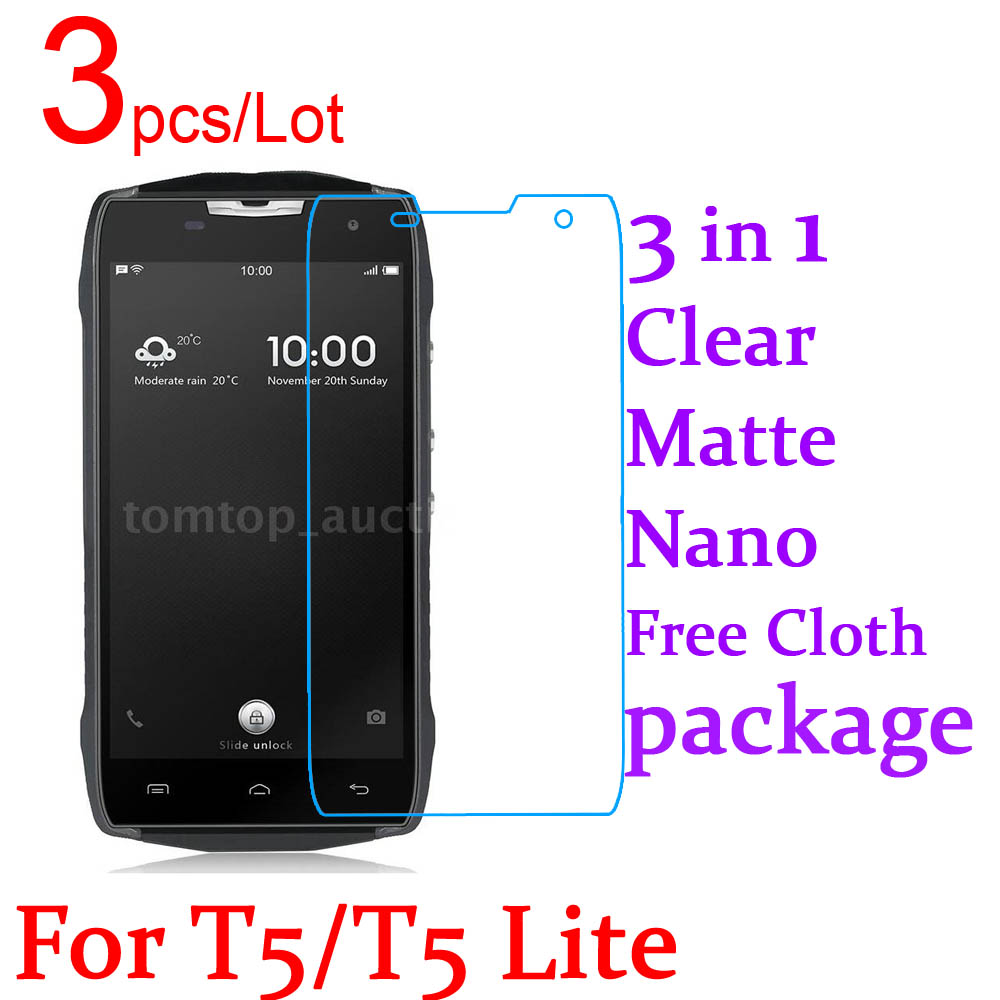 3pcs/Lot Triple Combination Ultra Clear Matte Nano LCD Screen Protector Cover For Doogee T5 T5 Lite T5S Protective Film+Pack
