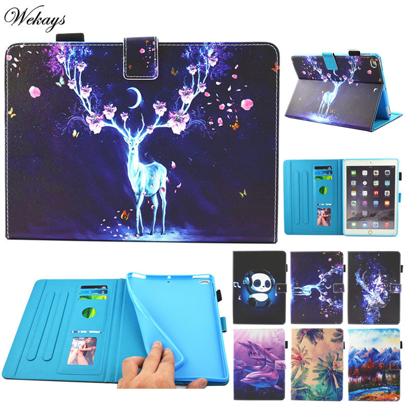 Wekays Cartoon Deer Panda Cover PU Leather Flip Stand Kickstand Case for Ipad Air 2 /ipad 6 Tablet Shell Cases for iPad6 Coque air 2 case for ipad 6 ipad air 2 cases pu leather anime cartoon tablet pc pad protective case cover with earphone pocket