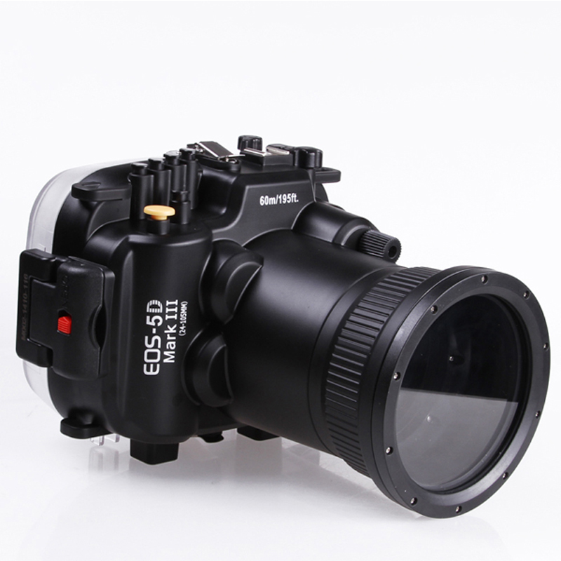60mm 195ft Waterproof Underwater Diving Case Camera Housing Case For Canon EOS 5D Mark III 5D 3 with 24 105mm Lens