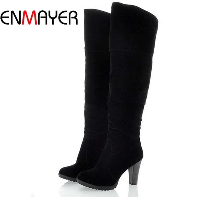 8da380eeb6153 ENMAYER Fashion High Heel Boots Women Lady Over Knee Platform Dropship  Winter Round Toe Shoes Women